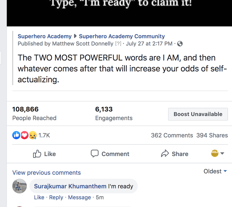 screenshot showing high engagement on fb group post