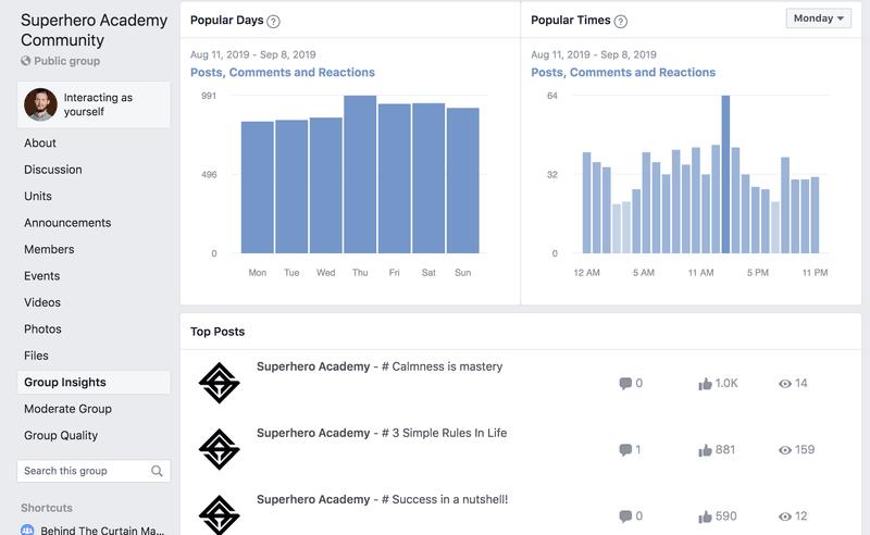screenshot showing FB Group analytics