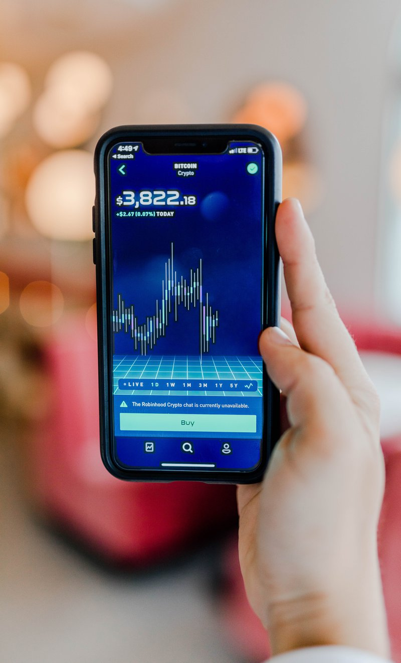 Smartphone showing bitcoin market value